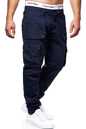 Indicode Herren Leonard Cargohose aus Baumwoll-Mix mit 6 Taschen | Lange Regular Fit Cargo Hose Herrenhose Wanderhose Trekkinghose Outdoorhose robuste Freizeithose für Männer Navy XL