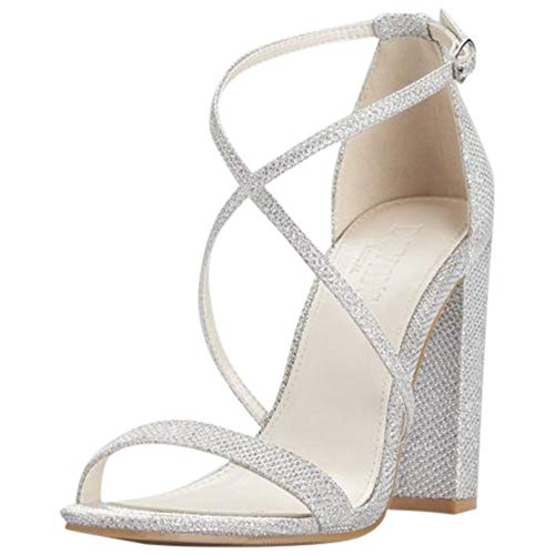 David's Bridal Crisscross Strap Block Heel Sandals Style Frenzy, Silver Metallic, 7.5