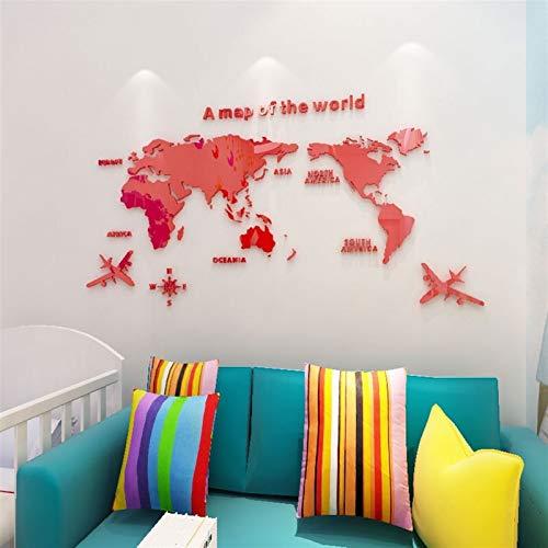 ZZLLFF Etiqueta engomada de la Pared del Espejo del Mapa del Mundo 3D Acrílico Decoración para el hogar Etiqueta engomada de la Sala de Estar de la Oficina Pegatina de la decoración de la Pared