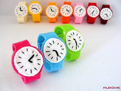 Kinder Uhr Filz Armband bunt Handarbeit