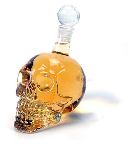 SoGuDio Decantador Decantador de Whisky, Botella de cráneo de Cristal, dispensador de Vidrio también para Brandy Tequila Bourbon Rum, Gran Regalo para Cualquier Bar (1L) Decantador de Whisky