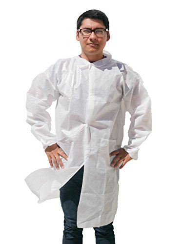 Makerspace Lab Disposable Lab Coats Adult Large 10 Pack | Elastic Cuffs, Front Snap Fasteners | For Classroom Science Labs, Science Parties