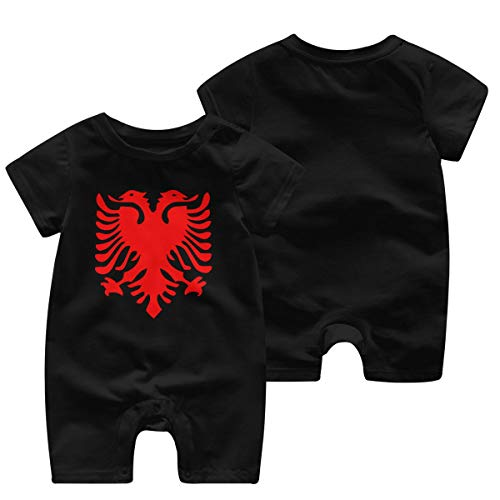 DLOAHJZH-Q Albanian Flag Baby Boys Unisex Short-Sleeved Cute Playsuit Outfit Clothes Black