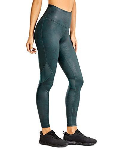 CRZ YOGA Pantalones Deportivos para Mujer Pantalones de Cuero de Imitación -63.5cm Llanura Verde de París 44