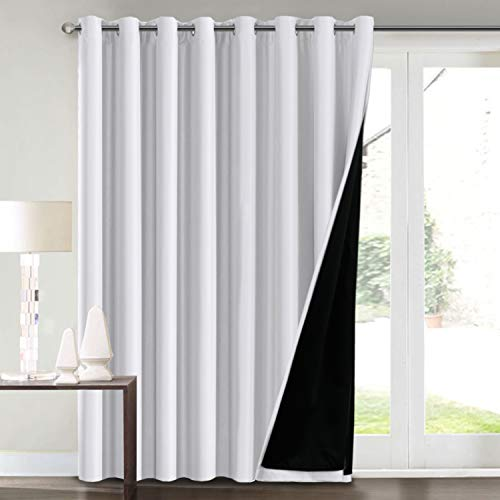 """100% Blackout Curtains for Living Room Extra Wide Blackout Curtains for Patio Doors Double Layer Lined Drapes for Double Window Thermal Insulated Curtains/Draperis - White, 100"""" x 84"""""""