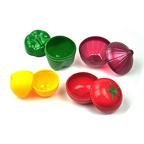 Aokshen Juego de 4 recipientes de almacenamiento de plástico reutilizables para refrigerador, con forma de cebolla, pimienta, limón, tomate, etc.