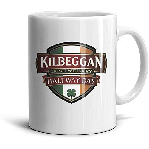 Kaffee Tee Tassen Kilbeggan Irish Whiskey Half Way Day Logo weißer Keramikbecher Bild Schwester Office Cup