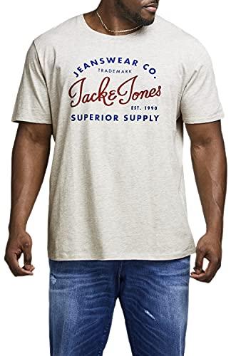 Jack and Jones T-shirt pour homme Grande taille 3XL à 6XL, Mélange blanc 909, 4XL