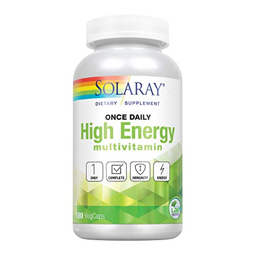 Solaray Once Daily High Energy Multivitamin | Supports Immunity & Energy | Whole Food Base Ingredients | Mens and Womens Multi Vitamin | 180 VegCaps
