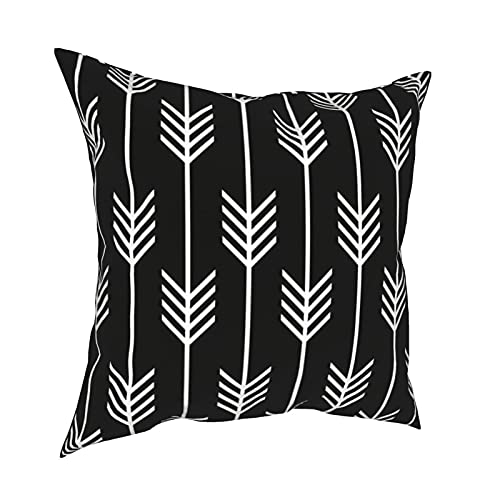 Reebos Throw Pillow Covers,Modern Arrow Fletching Pattern Black And White Home Decorative Couch Pillow Cases Square Cushion Covers for Sofa,Living Room,Bed 18 x 18 inches