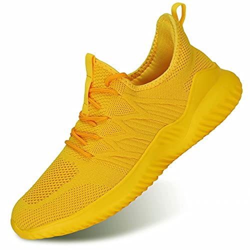 Zapatos de Hombre Mens Trainers Running Shoes Athletic Sport Walking Sneakers Jogging Gym Breathable Soft Sole Yellow
