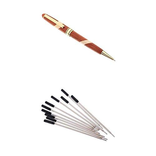 F fityle material de escritura escolar de Biros de bolígrafo de punta redonda de Rosewood W/recambios de bolígrafo de 10pcs