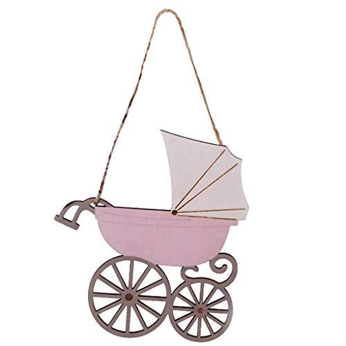 Houten aanhanger - kinderwagen - cadeauhanger - decoratief bord - in 2 kleuren - roze en blauw - baby - vintage - Shabby Chic - met snoer - 1 VE = 2 stuks - ca. 15 x 16 cm - AD68220R - AD68220B roze