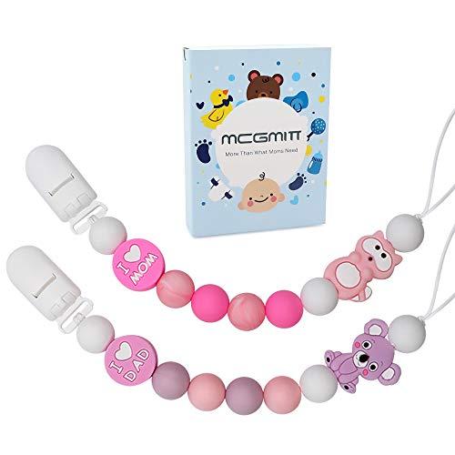 MCGMITT Schnullerkette Mädchen Baby Schnullerketten Silikon Schnuller Clip Zahnen für Machen Neugeborene, Baby Dusche oder Kinders Geburtstagsgeschenke (Rosa)