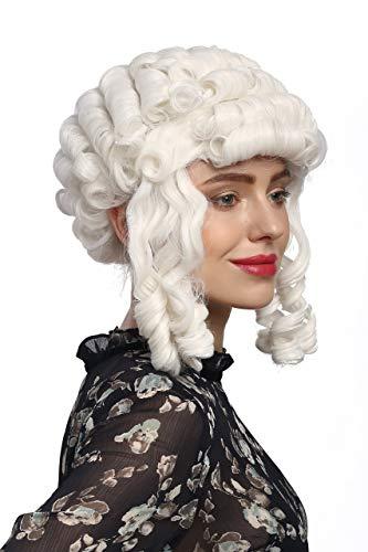 WIG ME UP- 90902-ZA60 Peluca señoras Carnaval Barroco históricamente rizos Blancos María Antonieta Reina Princesa Noble