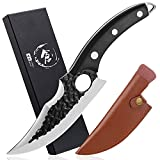 Cuchillo para deshuesar Martillo forjado a mano Hoja de textura para exteriores / cuchillo de chef Cuchillo de carnicero de mango curvo de espiga completa para filetear / cuchillo con funda de cuero