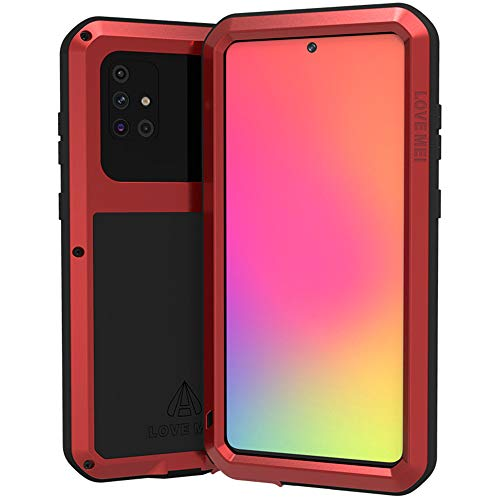 LOVE MEI for Samsung Galaxy A71 4G Case, Waterproof Military Heavy Duty Shockproof Dust/Dirt Proof Hybrid Aluminum Metal+Silicone+Tempered Glass Case Hard Cover for Samsung Galaxy A71 4G 6.7'' (Red)