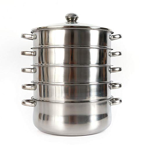 Fetcoi 5Tier Dampfkocher Gardampftopf Dampfgarer mit Edelstahl Glasdeckel Dampfgarer Bio-Dampfkocher Für alle Herdartenhaften (Edelstahldampfer 28cm)