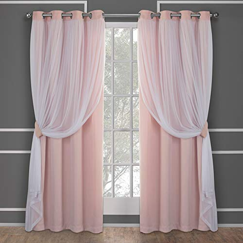 Exclusive Home Curtains Catarina Layered Solid Blackout and Sheer Window Curtain Panel Pair with Grommet Top, 52x84, Rose Blush, 2 Count