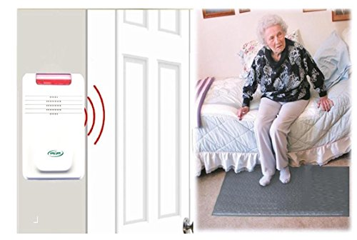 "Smart Caregiver Cordless Floor Mat Pressure Pad with Economy Cordless Alarm (No Alarm in Patient's Room), Gray, 24"" x 48"""