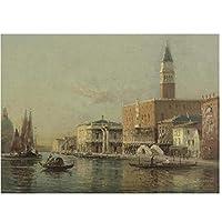 BGGGTD ポスター リゾートヴィンテージウォータータウンヴェネツィア海景油絵キャンバスプリントポスタークアドロスモダンウォールアートリビングルームの写真-50x70cmx1フレームなし