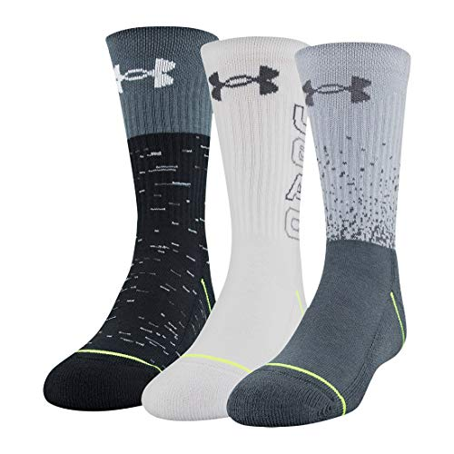 Under Armour Youth Phenom Crew Socks, 3-Pairs, Mod Gray Assorted, Shoe Size: Youth 13.5K-4Y