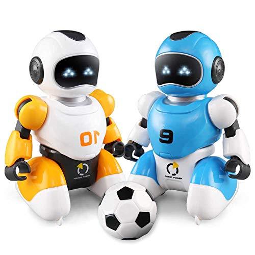 H87yC4ra 2 Stück/Set Roboter Fußballspielzeug, Cartoon Fernbedienung Fußball Kampfroboter Spielzeug Musik Tanzen Elektrisch Smart USB Ladesimulation Lernspielzeug Blau + Orange