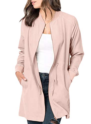 BLENCOT Womens Ladies Cute Autumn Thin Coat Front Zipper Open Front Suede Jacket Comfy Basic Outerwear Windbreaker Pink Small