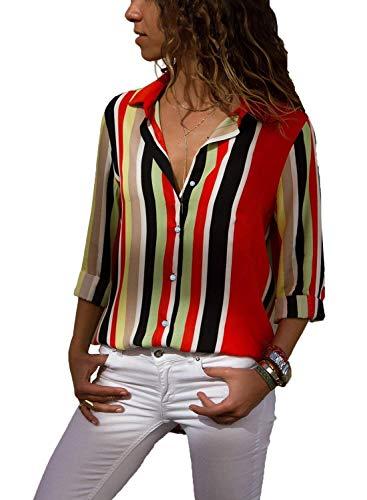 ShallGood Donna Camicetta Blusa Chiffon Elegante Camicia Casuale Solido Maniche Lunghe Chiusura a Bottoni con Scollo V Asimmetrico Tops T Shirt Primavera E Autunno B Rosso IT 42