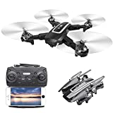 ZHAOJ Foldable Drone with Camera for Adults 4K HD FPV Live Video, Gesture Control, Selfie, Altitude Hold, Headless Mode, 3D Flips, Quadcopter for Children, Adults and Beginners