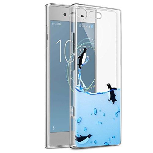 Cover Sony Xperia XZ1 Compact, Eouine Ultra Slim Protective Cover Silicone, Morbido Antiurto 3d Cartoon Pattern Gel Bumper Case Custodia in TPU per Sony Xperia XZ1 Compact Smartphone (Pinguino)