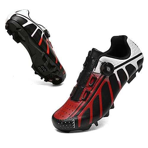 KUXUAN Zapatillas de Ciclismo para Hombres y Mujeres - Bicicleta con Bloqueo de Carretera Zapatillas de Ciclismo Bicicleta de Montaña Sin Bloqueo,Red-A-12UK=(280mm)=46EU