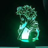 Luces de noche HITOSHI SHINSO MY HERO ACADEMIA 3D ANIME Lampara Boku no Hero Academia Lámpara de mesa que cambia de color para regalo de Navidad