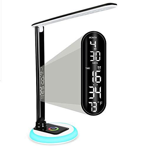 Schreibtischlampe 3 Helligkeit Farbtemperatur Dimmbare Led Tischleuchte Mit Touch Memory-Funktion Digitaldisplay Uhr, Wecker, Kalender Und Thermometer Rgb Nachtlicht Eye-Care Bettseite Tischlampe