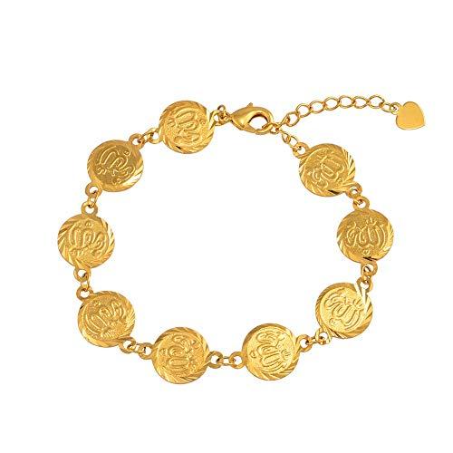 Nobrand 18Cm + 5Cm Allah Armband Für Frauen Gold Farbe Muslim Islam Arabisch Religiöser Schmuck Armreifen Für Frauen/Mädchen