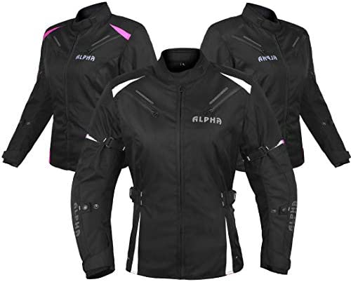 ALPHA CYCLE GEAR ALL SEASON WOMEN MOTORCYCLE JACKET WATERPROOF RIDING WITH CE ARMOUR BLACK WHITE product image