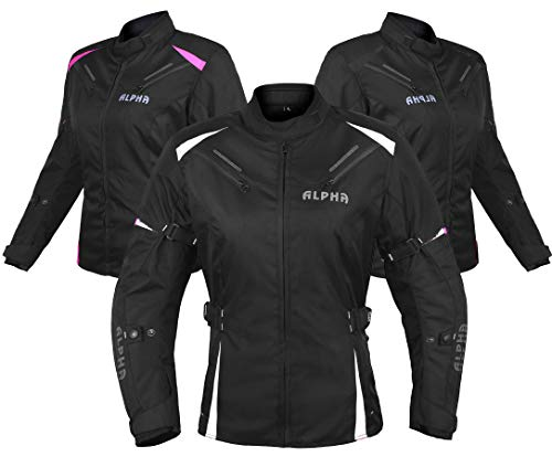 ALPHA CYCLE GEAR ALL SEASON WOMEN MOTORCYCLE JACKET WATERPROOF RIDING WITH CE ARMOUR (BLACK/WHITE, SMALL)