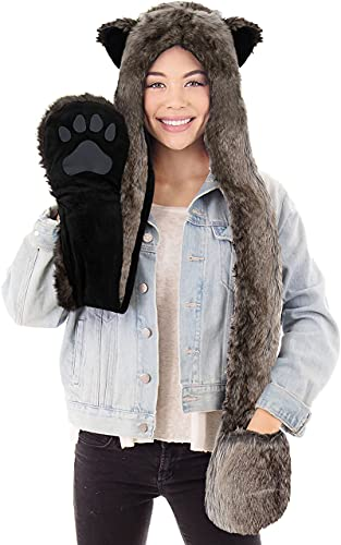Simplicity Cute Hats Caps Animal Beanie Hats with Scarf and Gloves, Grey Wolf