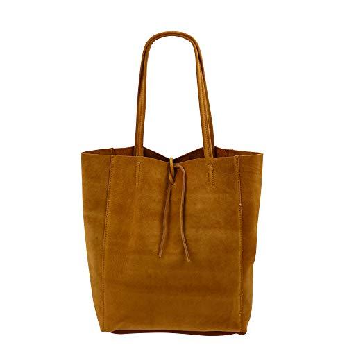 SH Leder ® Damen Echt Wildleder Shopper mit Innentasche in vielen Farben Schultertasche Henkeltasche 37x29cm Katrin G261 (Cognac)