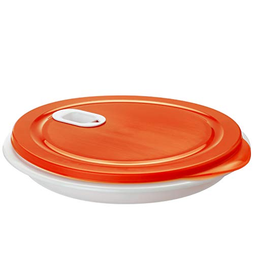 Rotho, XL Clever, Microwave plate 1.2l with lid and partition, Plastic (PP) BPA-free, white/red, 1,2l (26,0 x 26,0 x 4,8 cm)