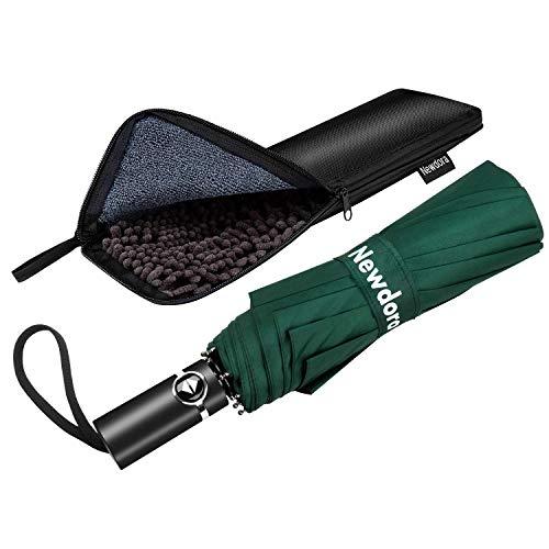 Newdora Regenschirm Taschenschirm Windproof sturmfest Auf-Zu Automatik 210T Nylon Umbrella wasserabweisend klein leicht kompakt 10 Ribs Reise Golfschirm mit Trockenbeutel(Dunkelgrün)