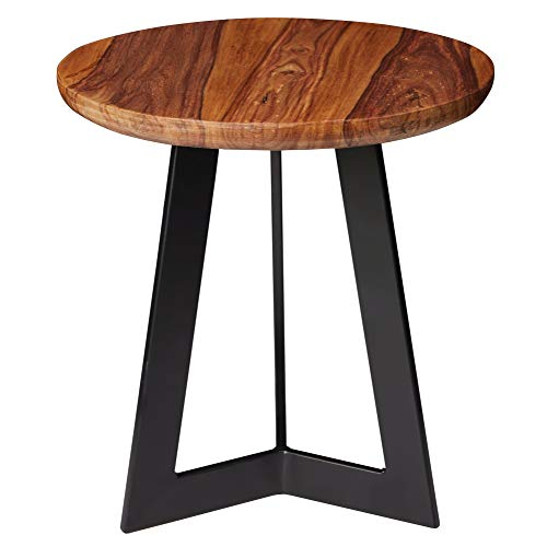FineBuy Beistelltisch 35 x 37 x 35 cm Sheesham Holz Metall Couchtisch | Industrial Style Echtholz Hocker Wohnzimmer | Holztisch Sofatisch Metallbeine | Anstelltisch Dekotisch Rosenholz