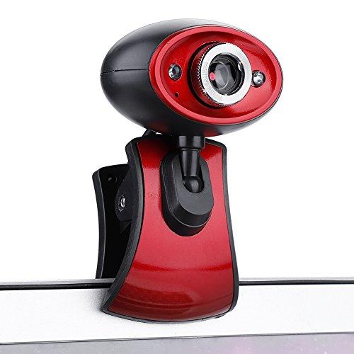 Xiuganpo Cámara Web con micrófono para Escritorio, Enchufe USB Enfoque Manual Cámara Web Full HD Live Stream Cámara Web HD Ajustable con Noche LED para computadora portátil PC Escritorio