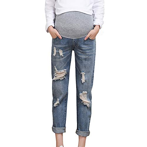 foreverH Damen Jeans FORH Umstandshose Schwangerschaftsjeans Mutterschaft,Pflege Bauch Legging Hose Mode Loch Latzhose Jeans für Schwangerschaft Maternity Umstands Hose (XL, Blau)