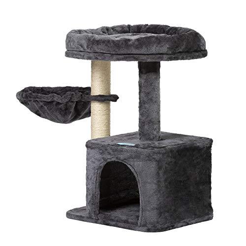 Hey-brother Kratzbaum klein für Katzen, Katzenbaum mit Liegemulde, Stabiler Katzenkratzbaum Katzenmöbel, Kleiner Katzenkletterrahmen Rauchgraues MPJ002SG