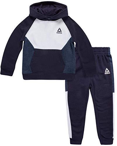 Reebok Baby Boy's Tracksuit – Athletic Fleece Sweatshirt and Jogger Sweatpants Playsuit Set (Infant/Toddler) (Bright Navy/Colorblock, 3T)'