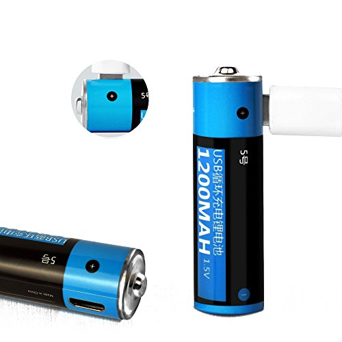 2 Pack Rechargeable Batteries AA Direct USB Port Lithium,1200mAh High Capacity Cell Battery for Flash light & Electronic Toy