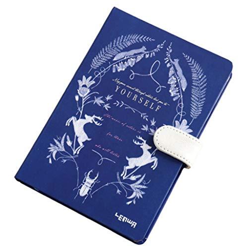 WINON Notebook,Cuaderno, Diario Lindo Floral Flor Calendario Libro Diario Planificador semanal Cuaderno Escolar Artículos de Oficina Papelería (Color : Blue, tamaño : D)