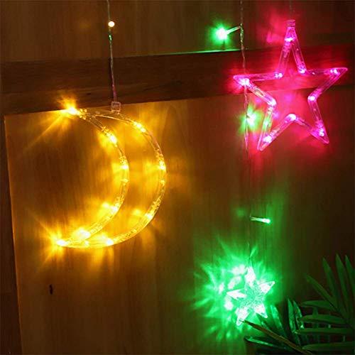 Gordijn met sterren en maan, led-kerstverlichting, met 8 modi, plug in lichtketting voor Kerstmis en venster, voor interieur