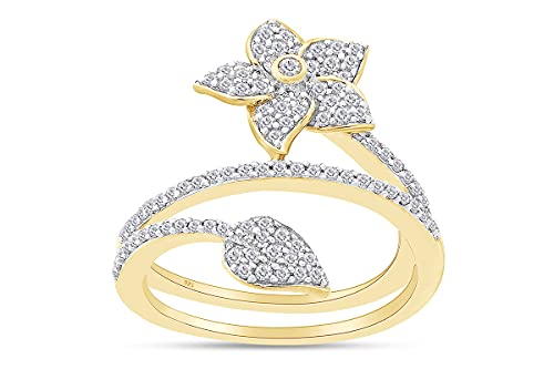 AFFY Anillo de compromiso de oro de 18 quilates sobre plata de ley con diamantes naturales blancos de 1/2 quilates (claridad: I2-I3, color: J-K, 0,5 quilates), Diamond,